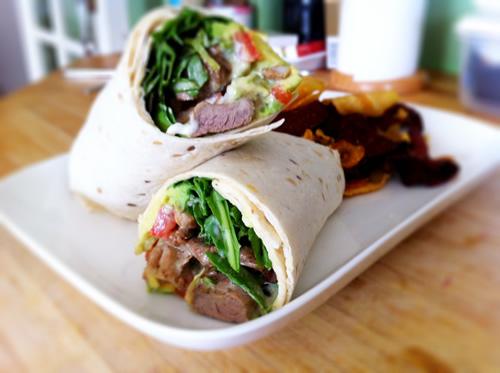 Lamb shish kebab wrap