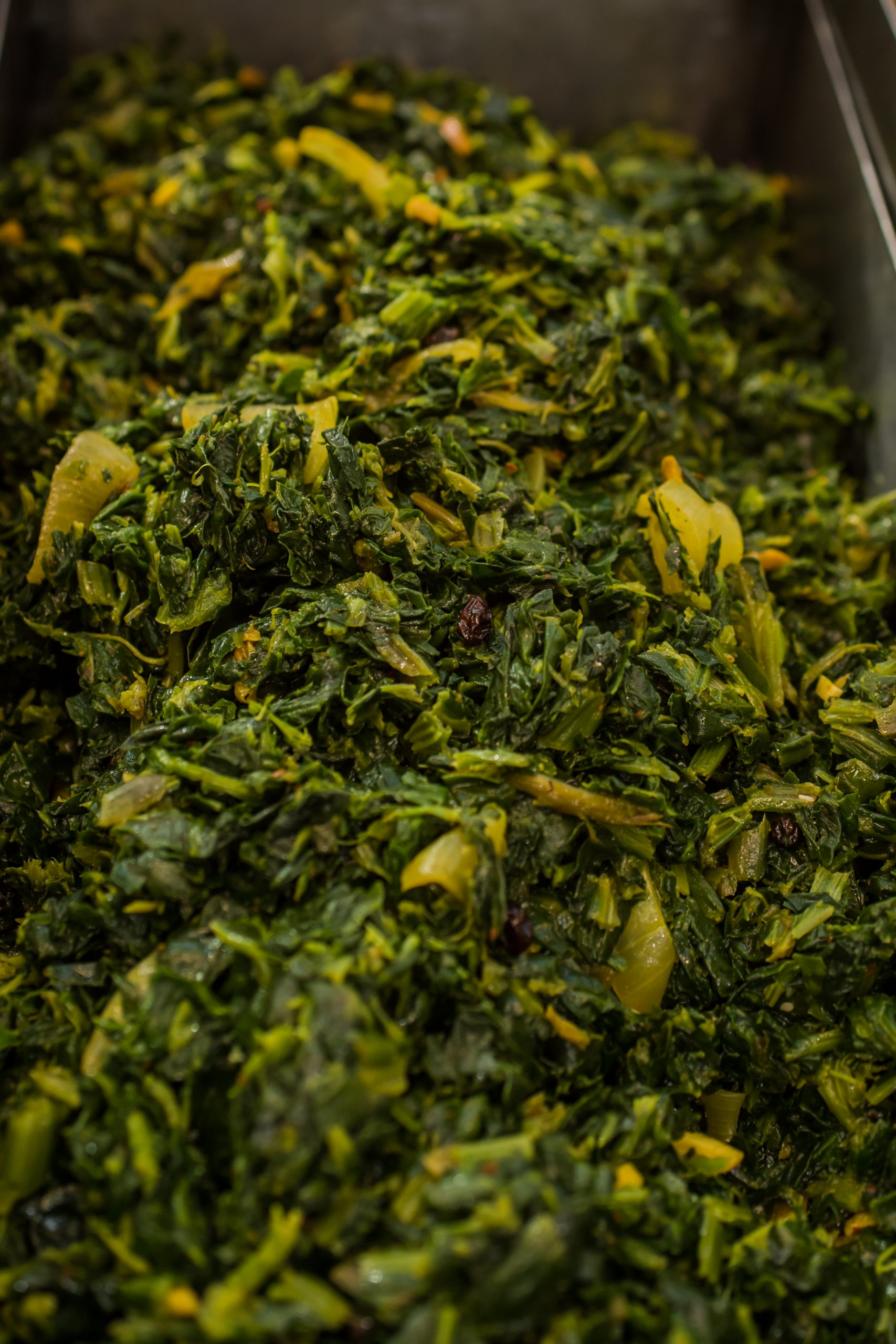 """Spinach with Roasted Almond <span class=""""gf"""">GF</span> <span class=""""df"""">DF</span> <span class=""""v"""">VG</span> <span class=""""n"""">N</span>"""