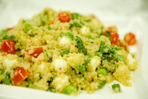 """Organic Quinoa, Mozzarella & Basil <span class=""""v"""">V</span>"""