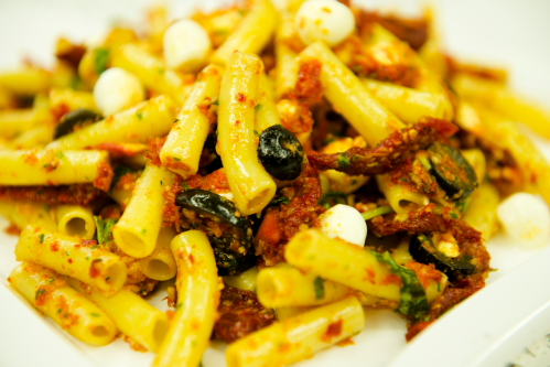 """You are currently viewing Ziti & Sundried Tomatoes Pesto <span class=""""v"""">V</span>"""